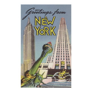 Viaje del vintage, señales famosas de New York Póster