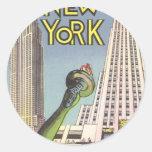 Viaje del vintage, señales famosas de New York Etiqueta Redonda
