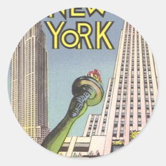 Viaje del vintage, señales famosas de New York Pegatina Redonda