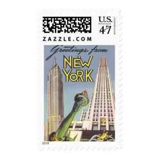 Viaje del vintage, señales famosas de New York Sello Postal