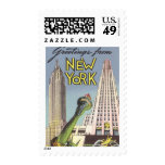 Viaje del vintage, señales famosas de New York Sello