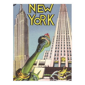 Viaje del vintage, señales famosas de New York Postal