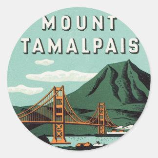 Viaje del vintage, soporte Tam, montaña de Etiquetas Redondas