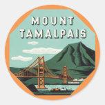 Viaje del vintage, soporte Tam, montaña de Tamalpa Etiqueta Redonda