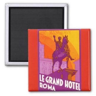 Viaje del vintage, Statue Le Grand Hotel Roma Imán Cuadrado
