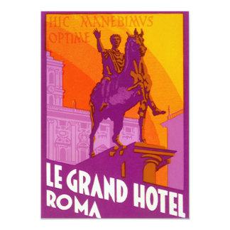 """Viaje del vintage, Statue Le Grand Hotel Roma Invitación 5"""" X 7"""""""
