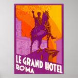 Viaje del vintage, Statue Le Grand Hotel Roma Ital Poster