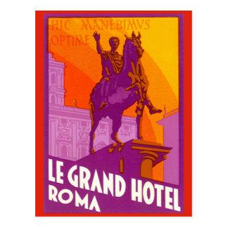 Viaje del vintage, Statue Le Grand Hotel Roma Postal