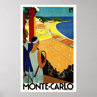 Viaje del vintage, tenis, deportes, Monte Carlo Póster