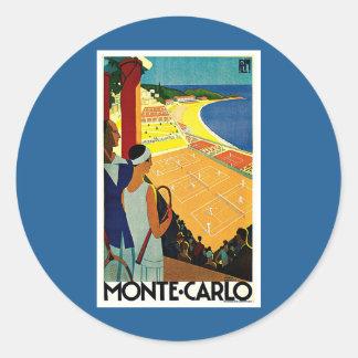 Viaje del vintage, tenis, deportes, Monte Carlo Pegatina Redonda