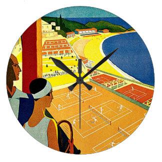 Viaje del vintage, tenis, deportes, Monte Carlo Reloj Redondo Grande