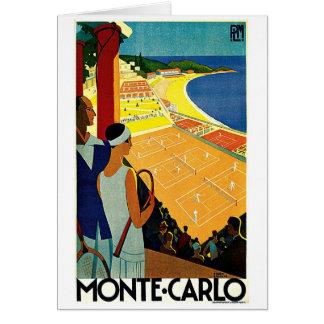 Viaje del vintage, tenis, deportes, Monte Carlo Tarjeta De Felicitación