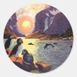 Viaje del vintage, tierra del fiordo de Noruega de Pegatina Redonda