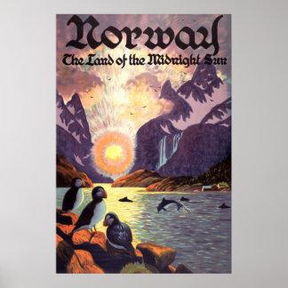 Viaje del vintage, tierra del fiordo de Noruega de Póster