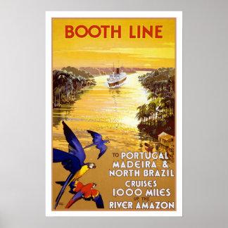 Viaje del vintage, travesía del Quantas-Amazonas Póster