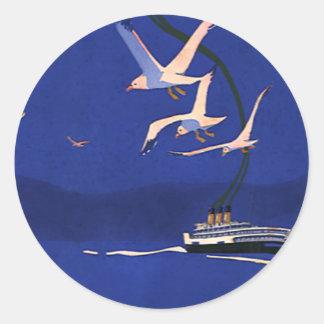 Viaje del vintage, vacaciones del barco de pegatina redonda