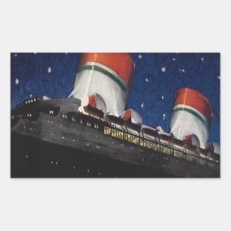 Viaje del vintage, vacaciones en un barco de pegatina rectangular