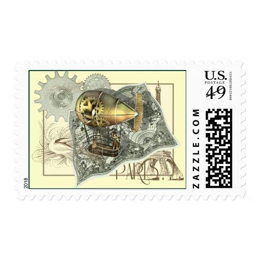 Viaje dirigible del aire sello postal