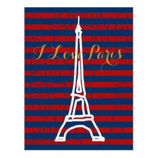 viaje Eiffel del la, rayas y amor Postales