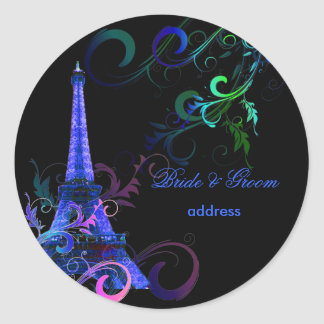 Viaje Eiffel/París del la de PixDezines Pegatina Redonda