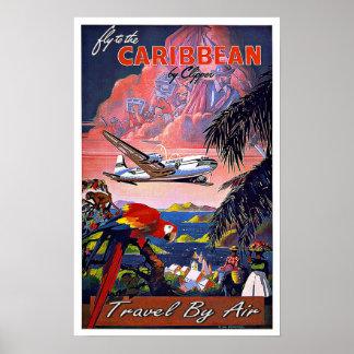 Viaje el Caribe del vintage por el aire Póster