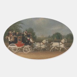 Viaje en Inglaterra, 1835. Pegatina Ovalada