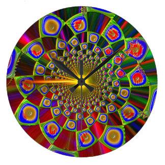Viaje en la óptica psicodélica 3D Reloj Redondo Grande