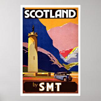 Viaje Escocia del vintage en autobús Póster