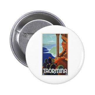 Viaje Europa del vintage de Taormina Italia Pin Redondo 5 Cm