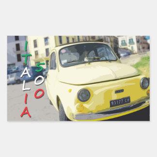 Viaje Fiat 500 Cinquecento, Italia del vintage, Rectangular Pegatina