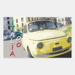 Viaje Fiat 500 Cinquecento, Italia del vintage, Pegatina Rectangular
