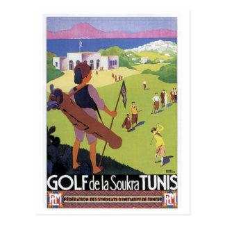 Viaje Golf de La Soukra Túnez del vintage Postales