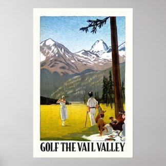 Viaje Golfing del valle retro de Vail Póster