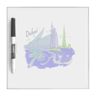 viaje gráfico azul design.png de la ciudad de Duba Pizarras Blancas De Calidad
