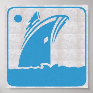 Viaje gráfico de la vela del mar de las vacaciones póster