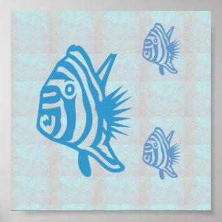 Viaje gráfico de la vela del mar de los pescados póster