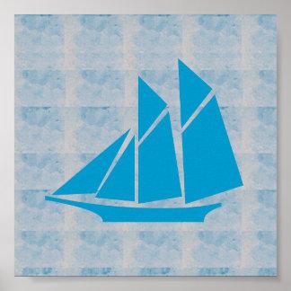 VIAJE gráfico del BARCO de VELA del mar del JUEGO Póster