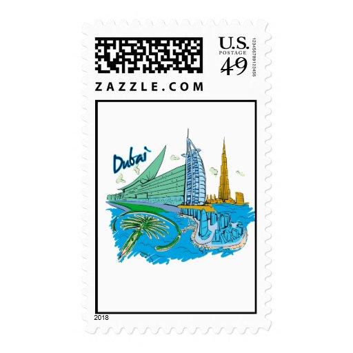 viaje gráfico design.png de la ciudad de Dubai Sello Postal
