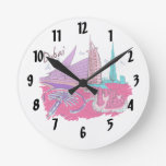 viaje gráfico design.png del rosa de la ciudad de  relojes de pared