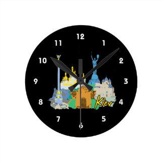 viaje gráfico design.png del watercolour de la ciu reloj redondo mediano