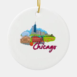 viaje graphic.png de la ciudad 2 de Chicago Adorno Redondo De Cerámica