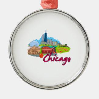viaje graphic.png de la ciudad 2 de Chicago Adorno Redondo Plateado
