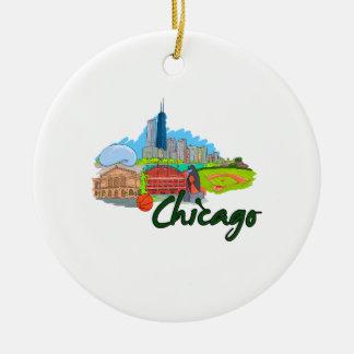 viaje graphic.png de la ciudad 3 de Chicago Adorno Redondo De Cerámica