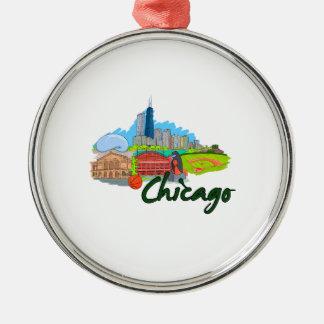 viaje graphic.png de la ciudad 3 de Chicago Adorno Redondo Plateado