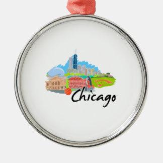 viaje graphic.png de la ciudad 4 de Chicago Adorno Redondo Plateado