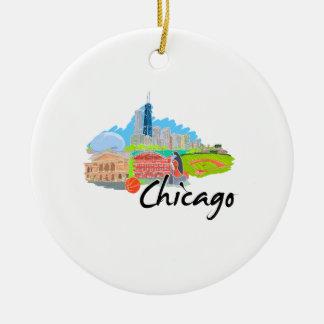 viaje graphic.png de la ciudad 4 de Chicago Adorno Redondo De Cerámica