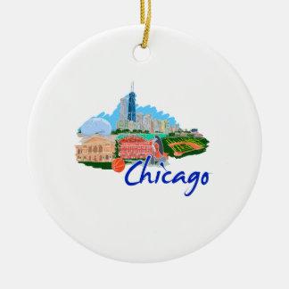 viaje graphic.png de la ciudad 5 de Chicago Adorno Redondo De Cerámica