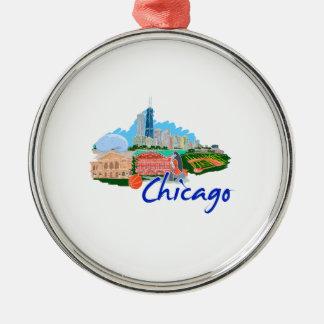 viaje graphic.png de la ciudad 5 de Chicago Adorno Redondo Plateado
