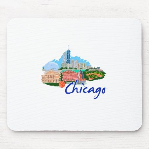viaje graphic.png de la ciudad 5 de Chicago Alfombrillas De Ratón