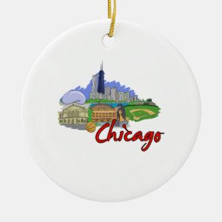 viaje graphic.png de la ciudad de Chicago Adorno Redondo De Cerámica